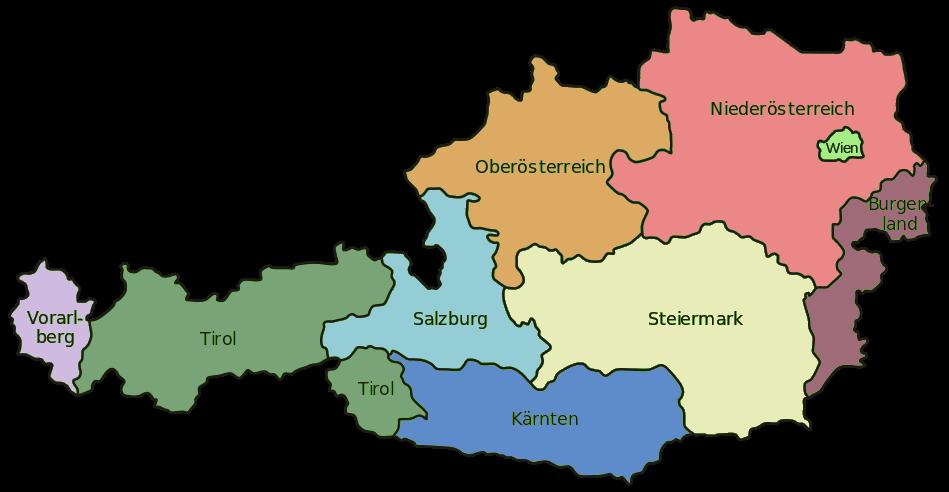 Landkarte Österreich mit Bundesländer, farbig